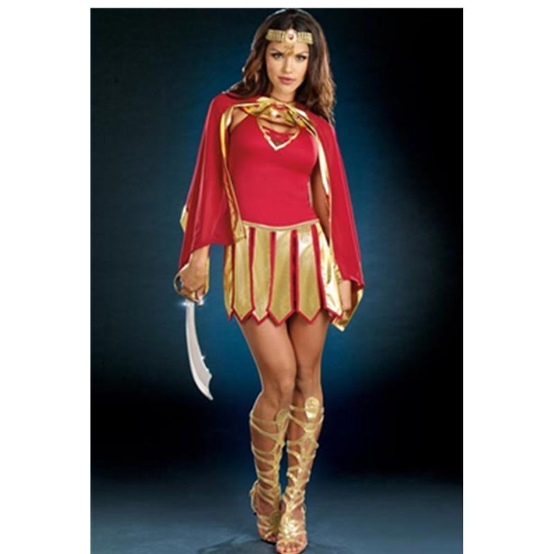 Jeweled Neckline Headwear Red Gold Convertible Dress Warrior Princess Costume Adult Girls Cosplay Dress Fancy Costume L1464 L1464(12)800x800
