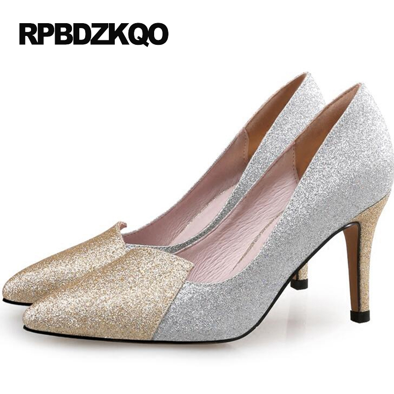Sequin Black Thin Small Size 12 44 2017 Shoes High Heels Crossdresser Pointed Toe Silver Glitter Pumps 33 4 34 Ladies Plus недорго, оригинальная цена