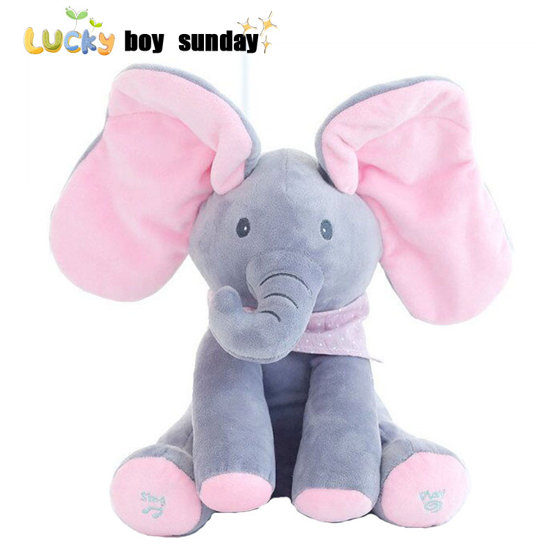 Peek A Boo Elephant Plush Toy Electronic Pet With Music Flappy Elephant Play Hide And Seek Baby Kids Soft Doll Birthday Gift new spring pretty flower girls dresses tulle communion gown ball gown mother daughter dresses lace holy communion dresses