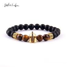 WML 8mm bead Men Bracelet Luxury Pave black CZ Warrior Helmet & Column for Bracelets & Bangles for men Jewelry wml 8mm bead men bracelet luxury pave black cz column
