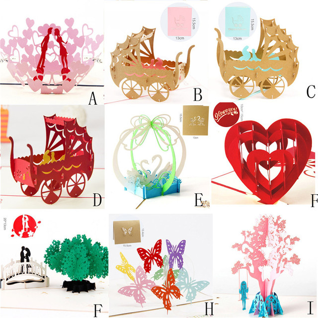Butterfly Tree Pram 3D Pop Up Cards Wedding Lover Happy Birthday Anniversary Greeting Animal Cutting Design Greet