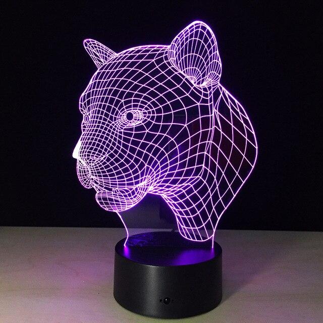 3D Optical Illusion LED Night Light Leopard Lamp Luces