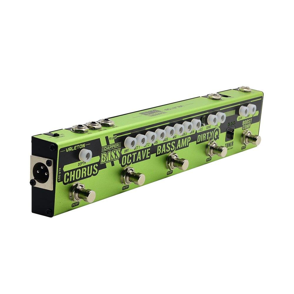 Valeton Dapper BASSE Multi-effets Pédale Bande 6 dans 1 Multi Effet Basse Tuner, Chorus, Octaver, sale Q et Boost Comp, Tuner VES-2