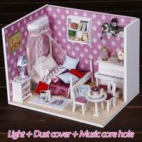 Toys for Children Assemble Diy Puzzle 3D Miniature Dollhouse Furnitures Model Wooden Doll House Miniature Girls Birthday Gifts