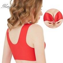 MengShan Big underwear front buckle back Increase in fat mm big size bra Sleep movement Ring-free waistcoat plus