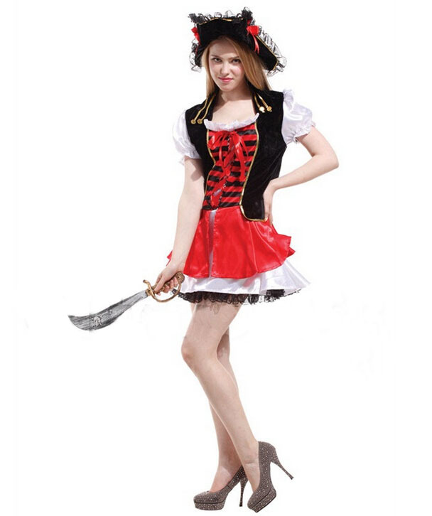 Red and black countess luxuriant pirate costumes, costume party, HALLOWEEN, the carnival party dress