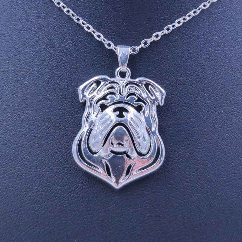 2018 Cute English Bulldog Necklace Dog Animal Pendant Gold Silver Plated Jewelry For Women Male Female Girls Ladies Kids N018