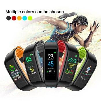Reloj inteligente IP68 negro T30 Monitor de ritmo cardíaco Bluetooth Modo deportivo rastreador de Fitness pulsera de sueño podómetro reloj impermeable