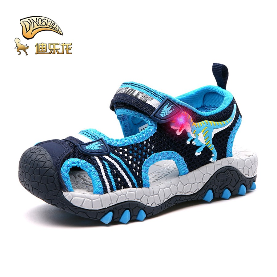 Confident Dinoskulls Jongen Sandals Boys Dinosaur Luminous Glowing Closed Toe Breathable Summer Childrens Sprots Shoes Sneakers Sandals Let Our Commodities Go To The World Boys Sandals