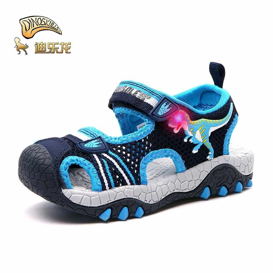 DINOSKULLS דינוזאור קטן בני סנדלי LED אור t-rex 3-6 שנות ילדים קיץ גומי נעלי ילדים sprots סנדלים לנשימה