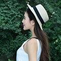 Blanco de La Nueva Manera Plana Dom Sombrero de Paja del arco del Verano de Las Mujeres sombreros Para Las Mujeres Beach Headwear Joyas femme Artículo Del Regalo Caliente con estilo
