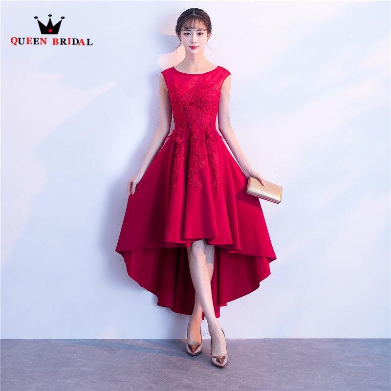 Haute basse Satin dentelle perles perles courtes robes de bal vin rouge noir élégant robe de soirée 2018 nouvelle mode reine mariée PR03