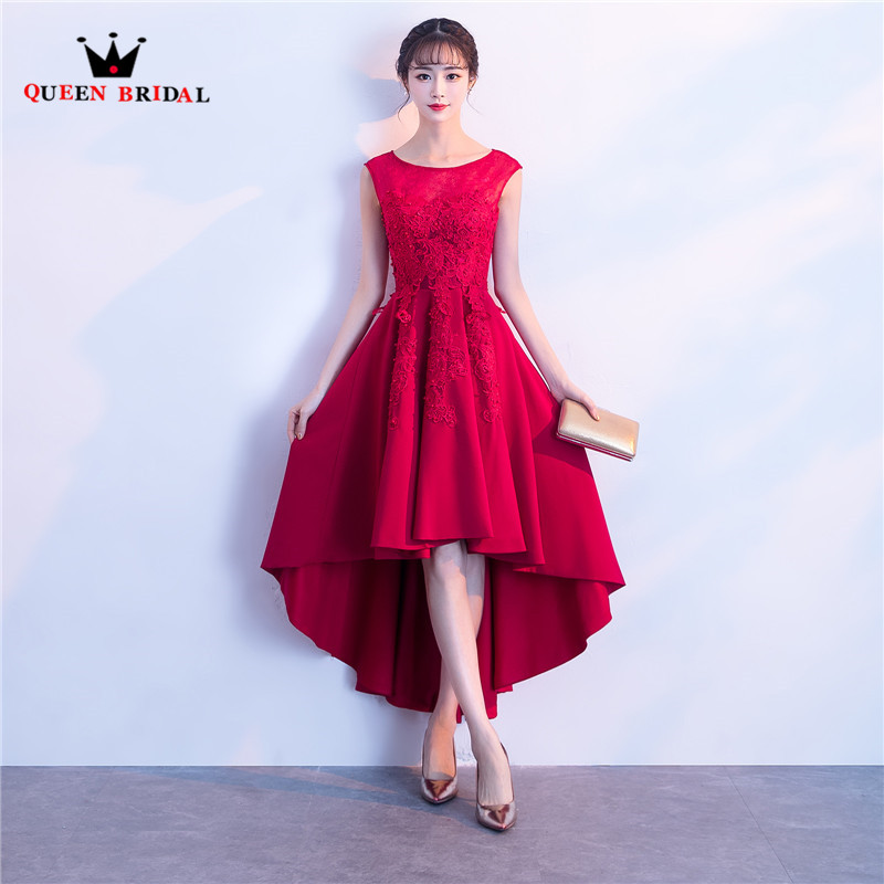 High Low Satin Lace Beading Pearls Short   Prom     Dresses   Wine Red Black Elegant Party   Dress   2018 New Fashion QUEEN BRIDAL PR03