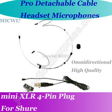 Detachable Cable Black Omni-Directivity ear Hook Headset Microphone for Shure Wireless mini XLR 4Pin