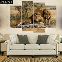 Lions King On Canvas Animal Home Decoration Frameless Diamond Embroidery 5D Diamond Painting Cross Stitch Wedding