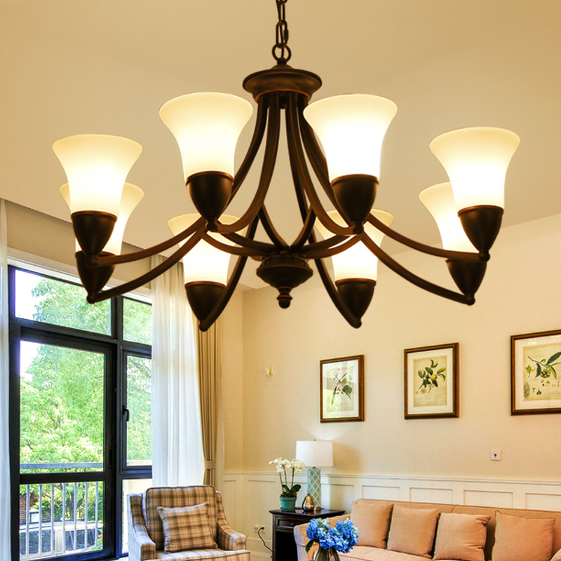 LED Chandelier Lighting Fixtures Black Iron Vintage Chandeliers With Glass Shade LED Lamp For Living Room And Dining Room led chandelier black iron ceiling chandeliers lighting fixtures american countryside style for living room and bedroom lighting