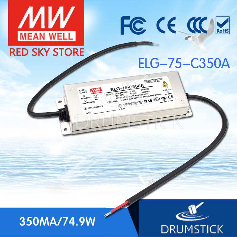 Hot sale MEAN WELL ELG-75-C350A 224V 350mA meanwell ELG-75 224V 74.9W Single Output LED Driver Power Supply A type advantages mean well elg 100 42a 42v 2 28a meanwell elg 100 42v 95 76w single output led driver power supply a type [real6]