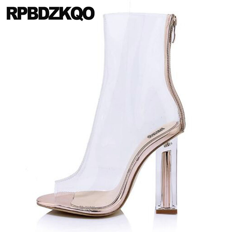 Boots Sandals Designer Shoes Women Luxury 2018 Clear Chunky Mesh Ankle Summer High Heel Transparent Peep Toe Pvc Brand Big Size недорго, оригинальная цена