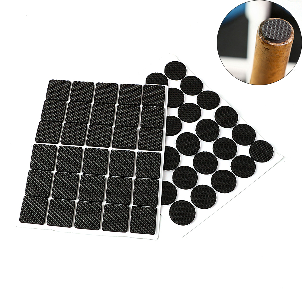 30piece/Set Rubber Table Feet No-Slip Pad Square Sofa Chair Leg Sticky Pad Black  Anti-skid Self Adhesive Furniture Leg Feet Mat