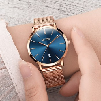 Ultra thin Ladies Watch Waterproof Rose Gold Stainless Steel Quartz Calendar Wrist Watch