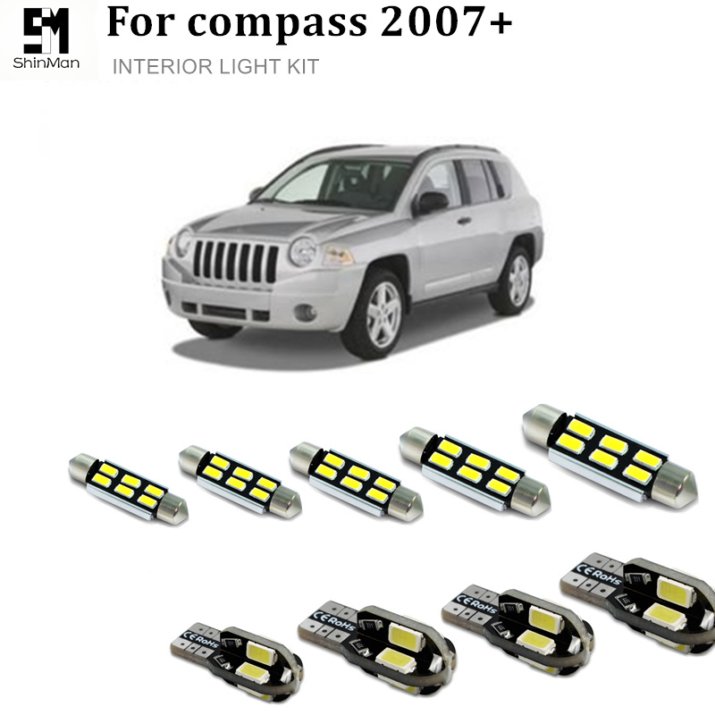 Shinman 6X LED Interior Light Kit Package For Jeep Compass Accessories 2007+ Error Free Trunk Dome License Led