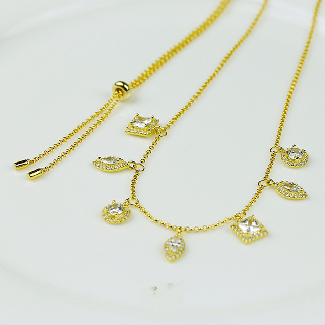 Free Shipping New Arrival 925 Sterling Silver Inlay Zircon, Fashionable Tassel Necklaces For Women Jewelry Accessories