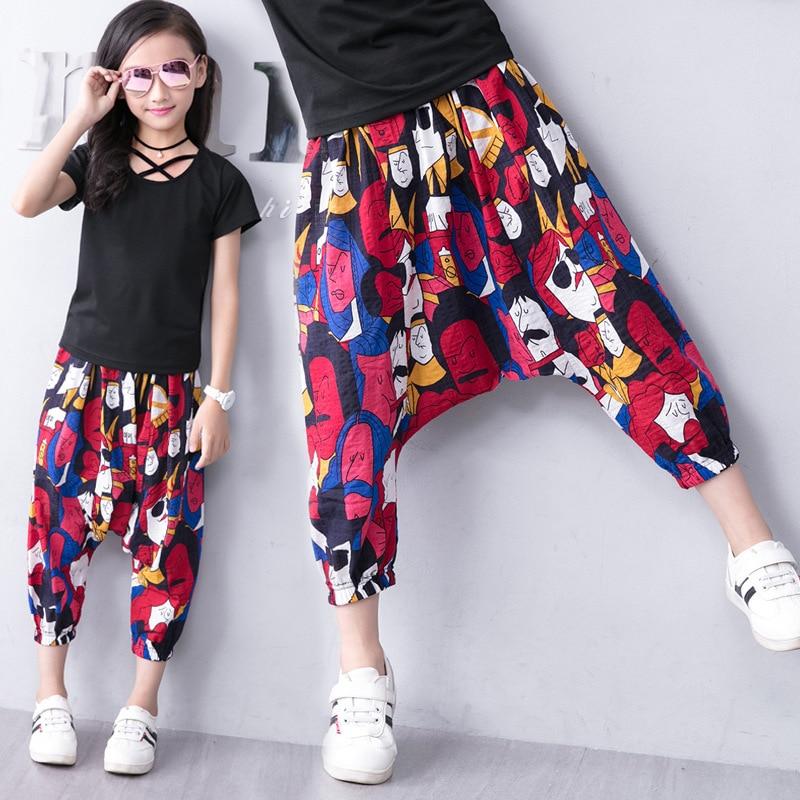 Штаны-шаровары для девочек и мальчиков, модные леггинсы с принтом, брюки до щиколотки, летние штаны