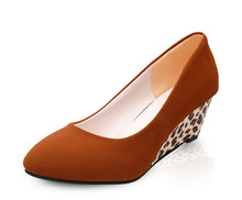 Sexy High Heels Frauen Keilabsatz Schuhe Plattform High Heels OL Party Schuhe Damen Braun Pumpt Leopard Schuhe Größe 35-40