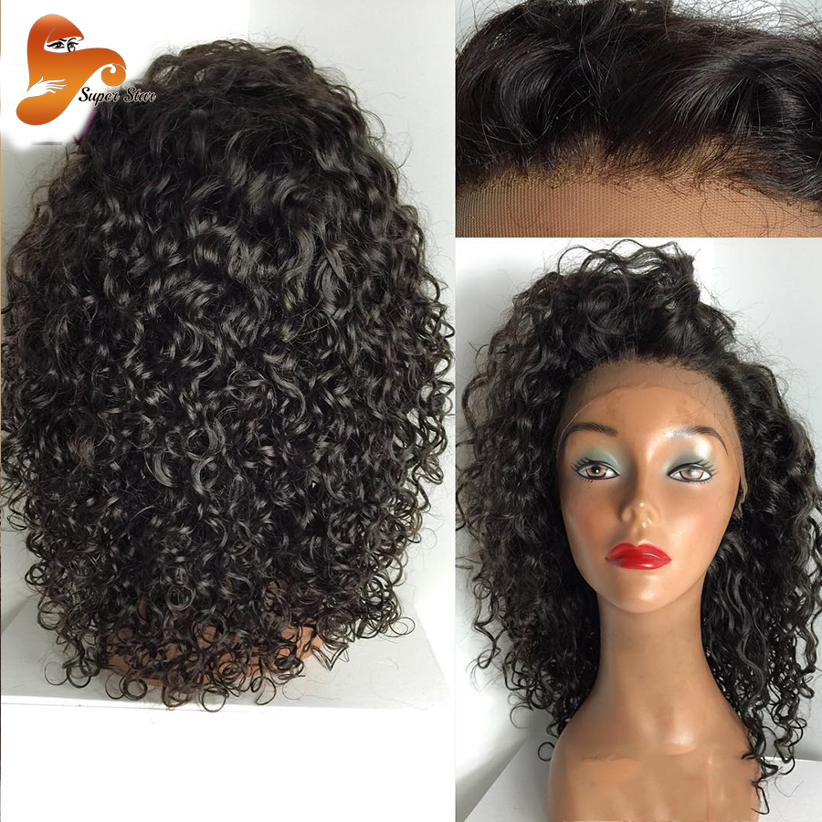 8a Kinky Curly Full Lace Human Hair Wigs With Baby Hair