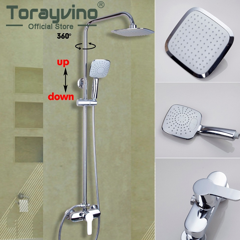Torayvino Polished Chrome Bathroom Faucet Wall Mounted Wterfall Water Shower Sets Hot Cold Water Eminent Bathroom Faucet torayvino polished chrome water tap bathroom faucet wall mounted shower set