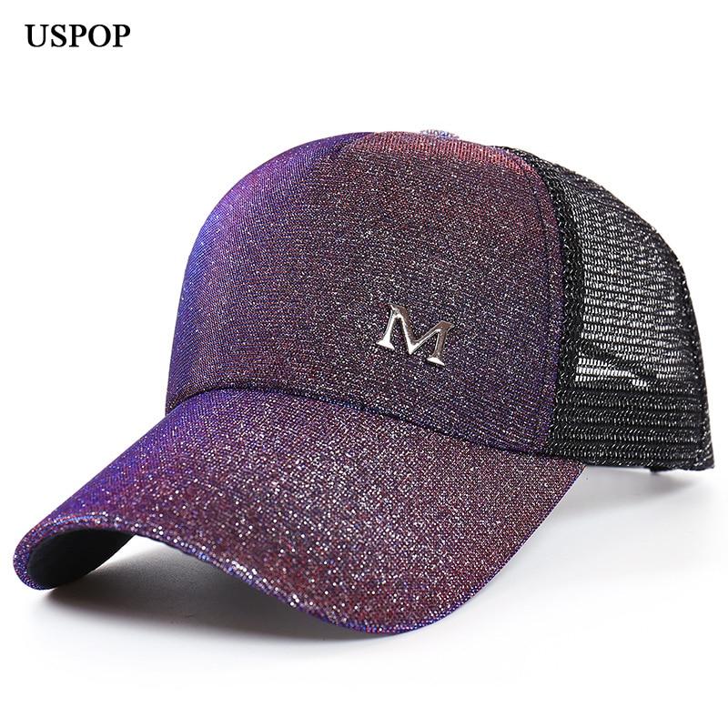 USPOP 2018 Brand New sievietes mirdzošs beisbola cepures Vasaras - Apģērba piederumi