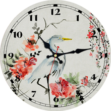 Vintage Scenery Wall Clocks Red-crowned Crane Silent Clock In Garden & Home Living Study Room Decor Art Large Watches