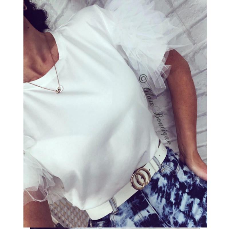 Solid Lace White T-shirt Casual  Summer T Shirt Vintage Summer T Shirt Tulle Tops Short Sleeve
