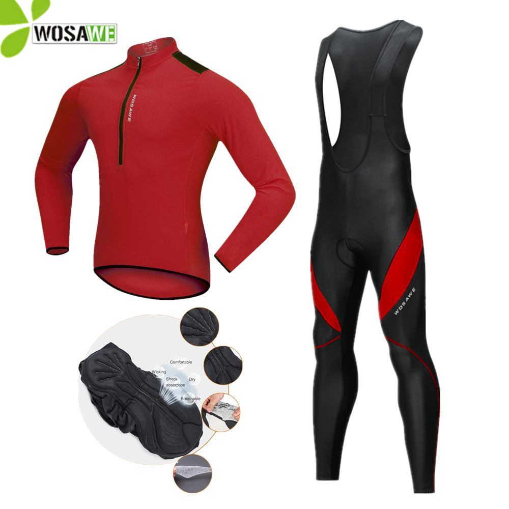 WOSAWE 2018 Autumn Cycling Sets Men Ropa Maillot Ciclismo Bike Wear Bicycle Jersey Gel Padded Suit Racing Kit Cycling Clothing wosawe new men s cycling shorts 4d padded cool gel riding bike cycling clothing