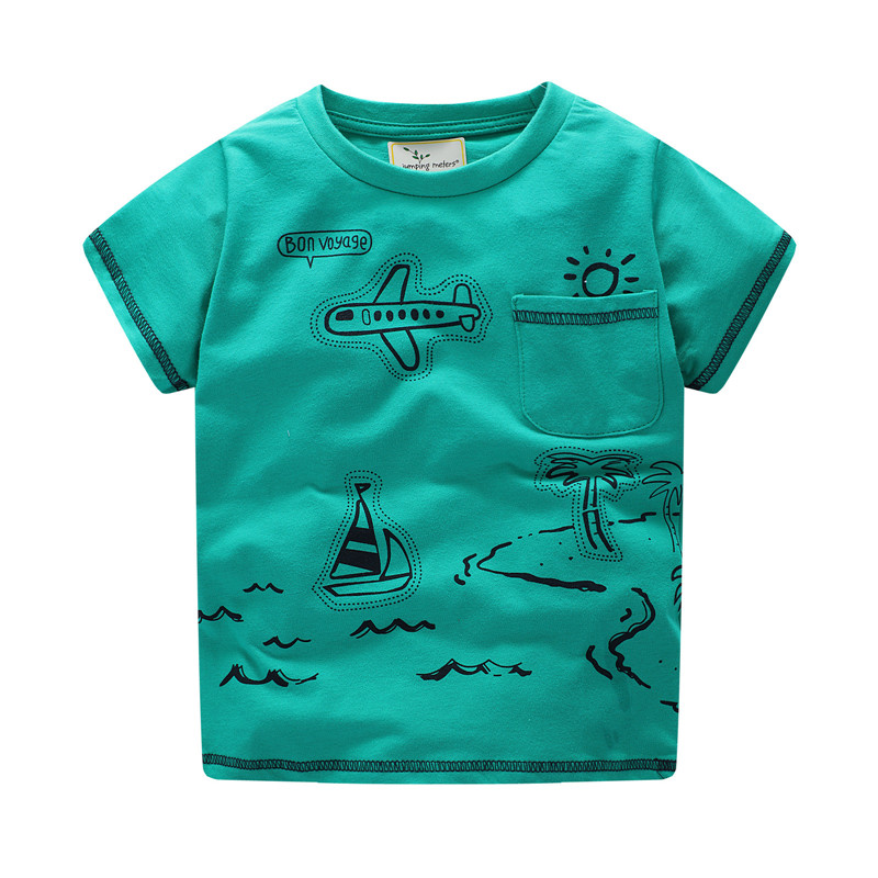 06b32bab8fe45 US $5.48 49% OFF kids boys T shirts brand jumping baby beans cars printed  fashion Jumping meters kids clothes cartoon cotton boy summer Tees-in ...