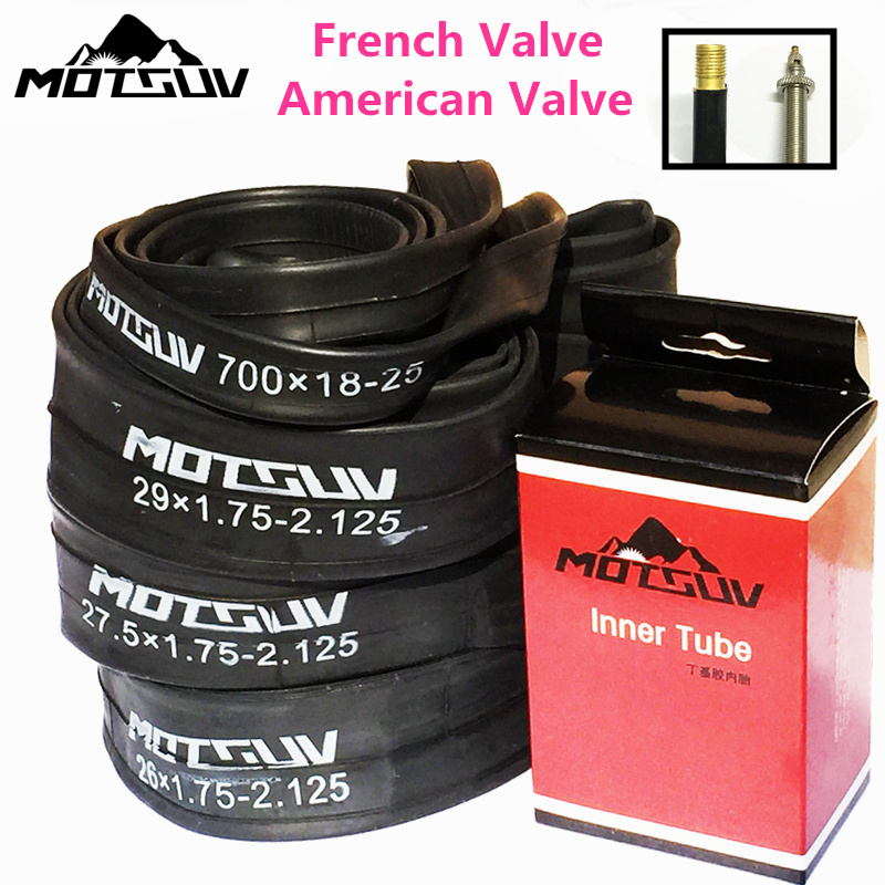 Bicycle Inner Tube Road/MTB <font><b>BMX</b></font> Bike Tires Inner Tyre 700*18 <font><b>26</b></font>/27.5/29*1.75-2.125 American/Presta Schrader Valve Bike Tube Tire image