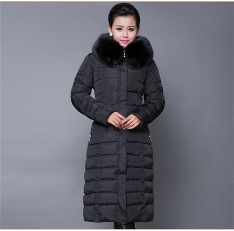 X-long Cotton Padded Jacket Female Faux Fur Hooded Thick parka,warm Winter Jacket Women Solid Color Wadded Coat Outerwear TT252 winter women long hooded faux fur collar cotton coat thick wadded jacket padded female parkas outerwear cotton coats pw0999