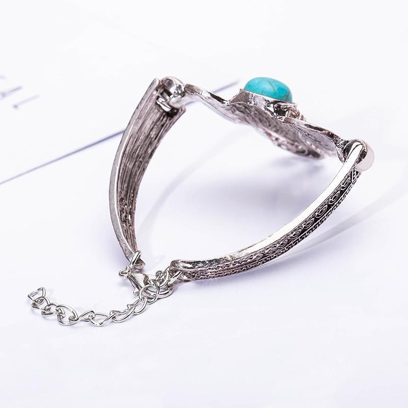 Crack Figure Blue Stone on Head Vintage Boho Elephant Retro Silver Bracelets & Bangles for Women