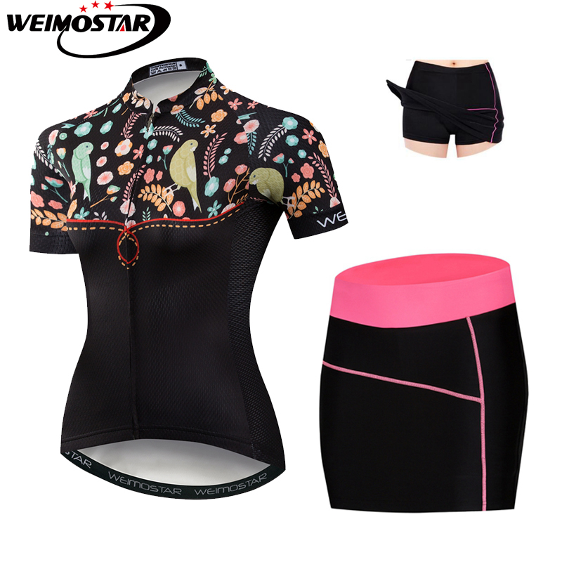 Cycling Jersey Set Women 2018 MTB Bike Jersey Gel Shorts Cycling Skirt Shorts Suit Ropa Ciclismo Riding Bicycle Clothing Pink цены