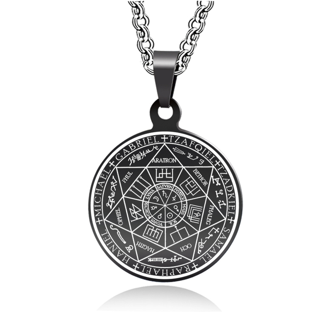 US $6 69 |Abaicer Seals Of The Seven Archangels Black Pendant Choker  Statement Silver Stainless Steel Necklace For Women Dress Accessories-in  Pendant