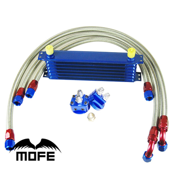 SPECIAL OFFER 10AN Aluminum Engine Transmission 7 Row Oil Cooler Kits With Filter Relocation Kit