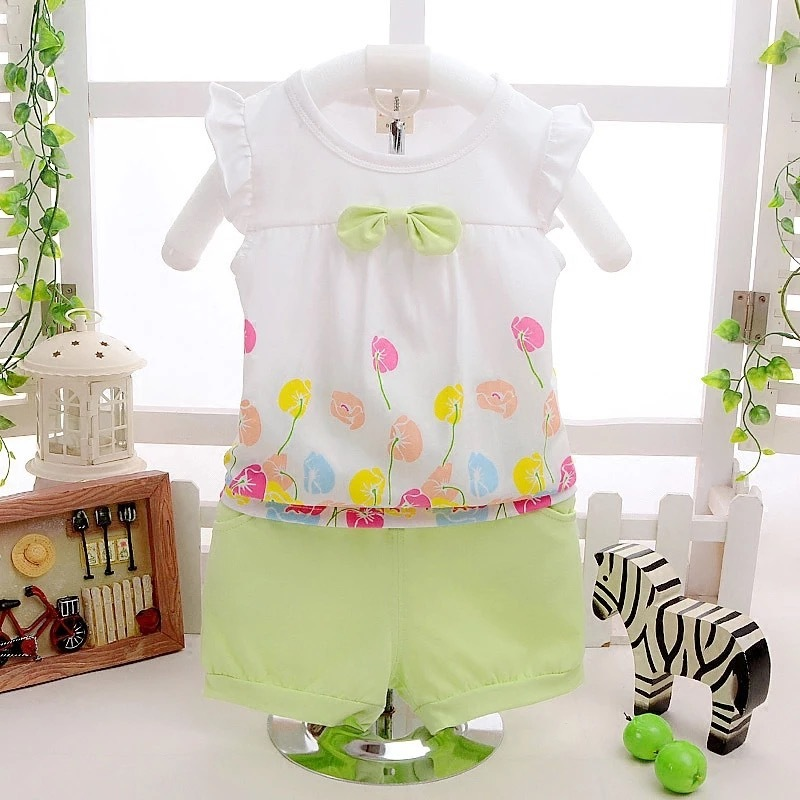 Cotton Cute Flower Vest And Shorts 2pcs Kids Girl Clothes Set Children Outfits Toddler Tracksuits New Summer Baby Clothing Suits flower sleeveless vest t shirt tops vest shorts pants outfit girl clothes set 2pcs baby children girls kids clothing bow knot