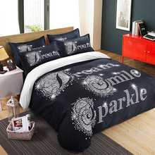 European and American simple 3D couple bedding three/four piece set Herside hisside home textile Polyester fiber Comfortable