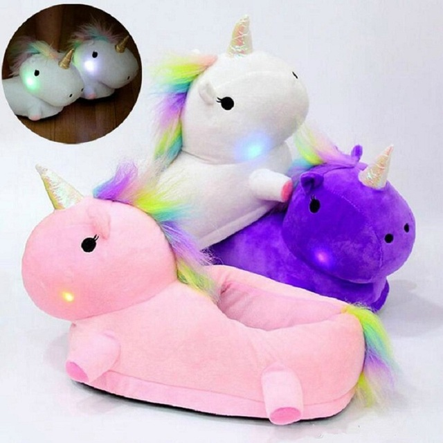 Glowing Cartoon Home Unicorn Slippers Light Up Warm Soft PP Cotton Plush House Shoes unicornio licorne Children Christmas Gift