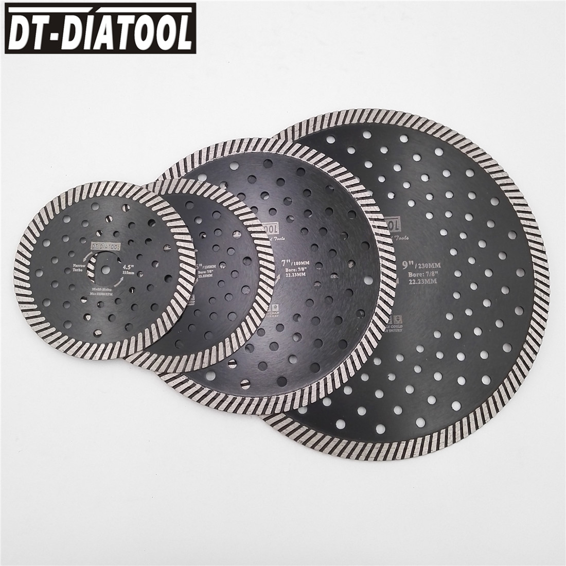 DT-DIATOOL Diamond Hot Pressed Narrow Turbo Saw Blade Multi Holes diamond disc Cutting Granite Marble Masonry 4 4.5 5 7 9 turbo fb 9 red multi