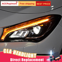 2Pcs LED Headlights For Mercedes Benz CLA 2014 2019 led car lights Angel eyes ALL LED KIT Fog lights LED Daytime Running Lights