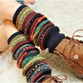 Bohemia Style Winter Over Knee Long Knit Crochet Leg Warmers Lady Legging Stocking