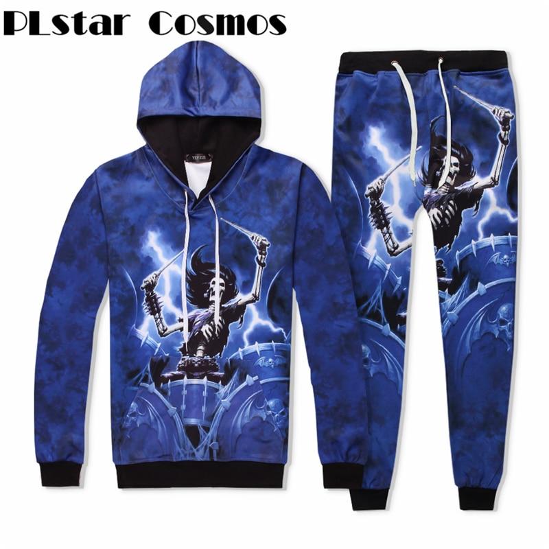 PLstar Cosmos Fashion The rock skeleton musiciantrack suit men women winter casual clother 3d hoodies&pants 2 pieces size S-XXL