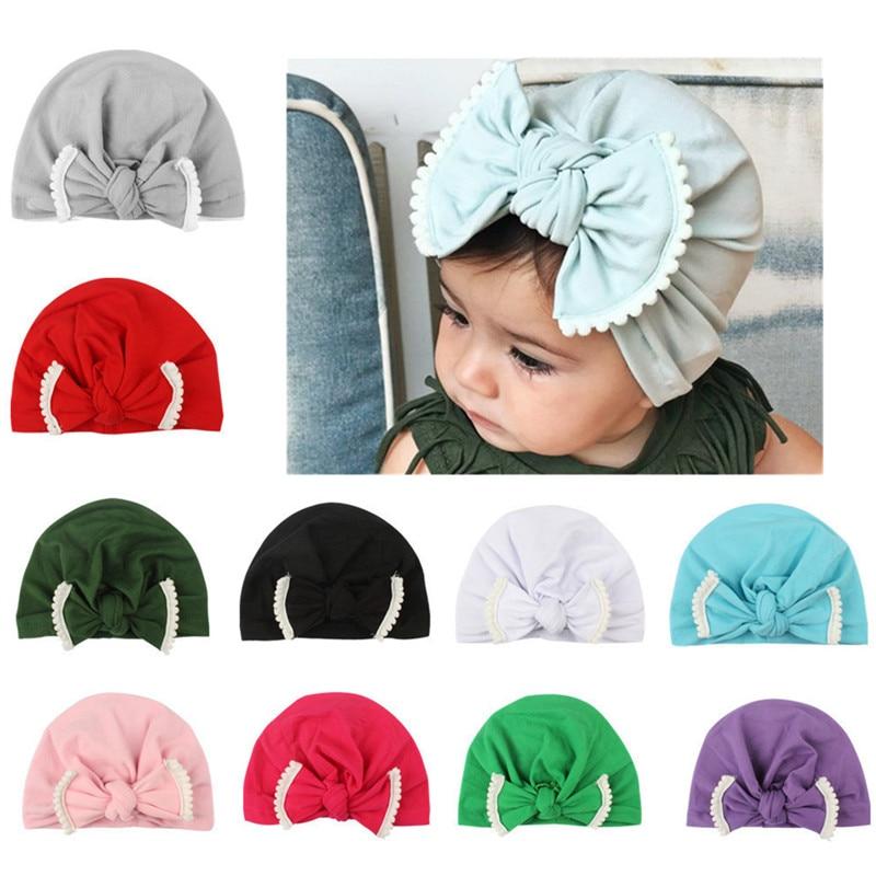 1pcs New Newborn Baby Girls Infant Toddler Comfy Bowknot Cap Beanie Hat