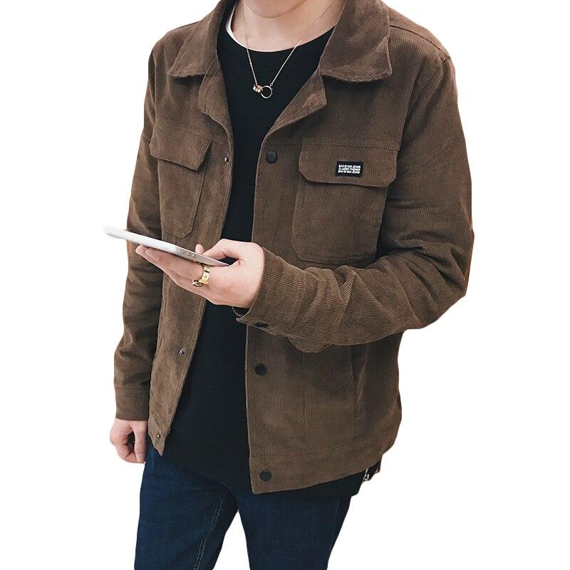 Korean Fashion Jacket Coat Men Corduroy Turn Down Collar Pockets